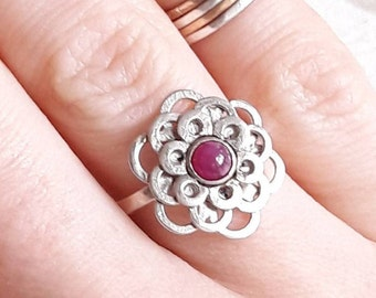 Genuine Ruby and Sterling Silver Flower Ring - July Birthstone Ring - Ready to Ship - Floral Jewelry - Summer Jewelry - Ring for Girlfriend