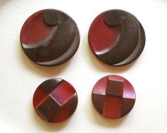 Vintage Coat Buttons, Shank Buttons, Brick Red Molded Plastic, Sewing Supplies, Collectible Buttons, Mid Century Notions, Craft Supplies