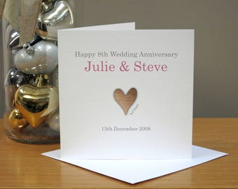 Personalised 8th Anniversary Card - Bronze Anniversary Card - Eighth Anniversary Card - Heart - For Husband/Wife - For Couple - For Him/Her