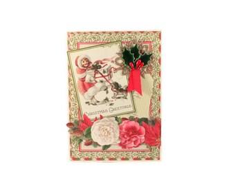 Christmas Card, Vintage Style,  Christmas Greetings, Victorian Style, Holiday Card, Handmade Christmas Greeting, Luxury Greeting Card
