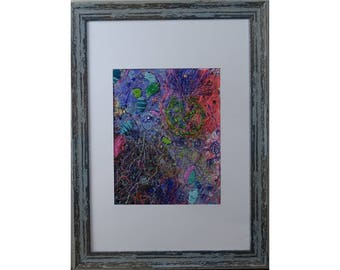 Wall art Abstract Mixed media textile : Expressive Colours size A3 handmade