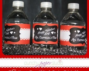 Valentine's Day School Party - Printable Water Bottle Labels Personalized with Class Info (Teacher's name)