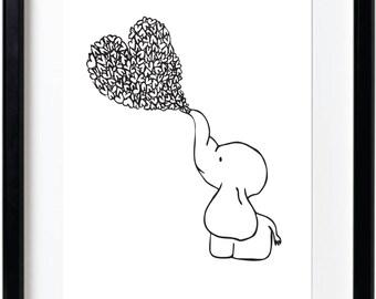 Elephant Heart Art, Wall art, Elephant Art, Instant Download Art, Art print, Baby Elephant Art Print, download, baby elephant download