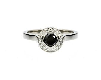 0.50ct Black diamond halo engagement ring, Platinum ring, black diamond ring, diamond halo, unique, milgrain, gothic, platinum halo