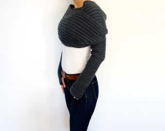 Shrug Crochet PATTERN - Twilight Wrap/Ribbed Cocoon Shrug/Modern Shoulders Cover-up/Convertible Scarf with Thumb Holes Sleeves