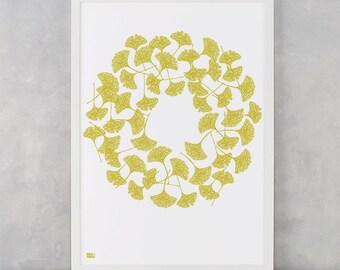 Ginkgo Screen Print, Leaves Screen Print, Leaves Wall Art, Nature Wall Print, Nature Wall Decor, Circular Leaves Wall Art, Ginkgo Artwork