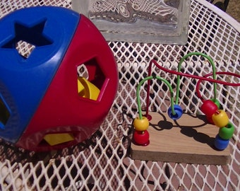 1968 Shape-O Ball by Tupperware and Vintage Wire and Bead Puzzle Toy, Developmental Toys for Toddlers