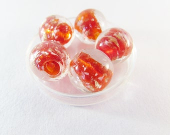 D-00784 - 5 Lampwork bead 15mm ca. 2mm hole