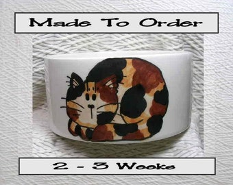 Tortie Cat Bowl Handmade To Order With Paw Prints Inside 20 Oz. Ceramic By Grace M Smith