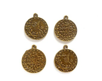 4 Antique Bronze Tughra Coin Charms - 22-21-2