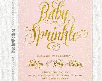 blush pink and gold baby sprinkle invitation, confetti girls baby shower invite, printable pink baby sprinkle invitation, 5x7 jpg or pdf252