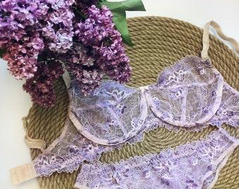 Lilac lace lingerie set\ Underwear\ Bralette\ Lace panties
