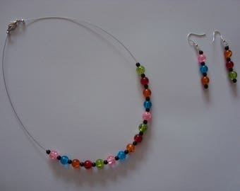 Jewelry set of multicolored glass beads