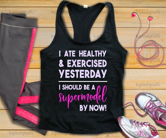 Eat Healthy Tank Top-Supermodel Fitness-Sarcastic Humor Exercise Shirt-Womans Fitness Tank Top-Workout Tank-Bella Canvas Flowy