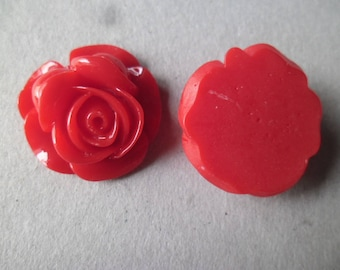 x 1 large flower red rose pattern cabochon resin 27 x 27 mm