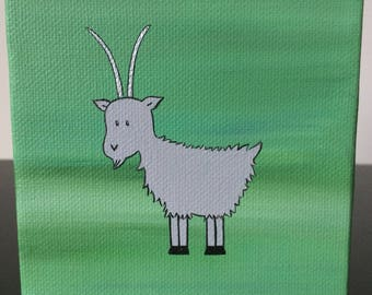 """Mountain Goat 4""""x4"""" acrylic painting on canvas over a green background"""