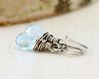 Blue Topaz Earrings, Oxidized Sterling Silver Sky Blue Topaz Earrings December Birthstone Wire Wrapped Gemstone Jewelry
