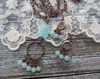 Dreamer .:. Vintage Copper and Aqua Dyed Quartz Crystal necklace & earrings set -- Bohemian jewelry, boho style, boho chic, healing stones