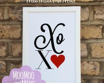 XOXO Print | Hugs & Kisses print | quote | Wall prints | Wall decor | Home decor | Print only | Typography