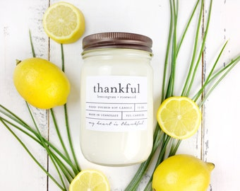 12 oz THANKFUL (lemongrass + rosewood) hand poured soy wax jar candle