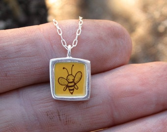 Bee Necklace - Reversible Sterling Bee and Turtle Necklace