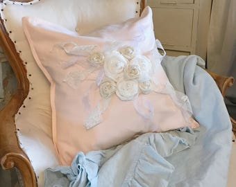 Pink Pillow Burlap Shabby Cottage Chic Throw Pillow Bedroom Accessory Farmhouse Decor Handmade Roses with lace