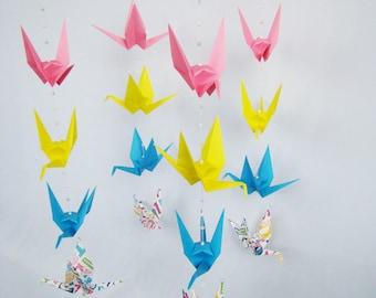 READY TO SHIP - Origami Crane Hanging Mobile - Gender Neutral Alphabet Theme - Home Decor - Kids Room Decor