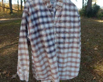 Unique distressed plaid Northwest Territory shirt - bleached dipped splattered recycled - Size XL (men's / unisex) (#S22)