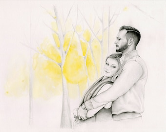 Couple Portrait Custom Couples Portraits Gift for Couples Hand Drawn Portrait from your Photo Personalized Couple Pencil Portrait Memento