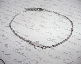Sideway cross stainless steel anklet or bracelet
