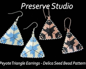 Peyote Triangle, Delica Seed Bead Pattern, Triangle Earrings, Peyote Stitch Earrings, Beaded Earrings, Delica Beads