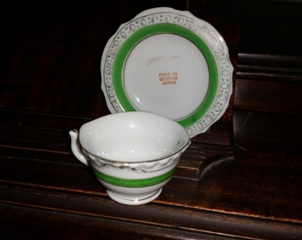 Rare, Vintage Mini   Cup And  Saucer, , Fancy China, Made in Occupied Japan