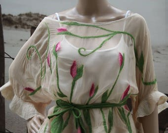 """Top silk and felt, beige, pink and green """"A flower among the flowers..."""""""