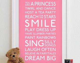 Baby Girl Art Print Girl Nursery Art Playroom Rules Subway Art Baby Girl Nursery Decor Nursery Girl Rules Nursery Rules