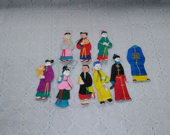 Vintage Chinese Paper & Cloth Hanging Figures Handmade 8 Figures Decorative Pieces Pier 1 (1)