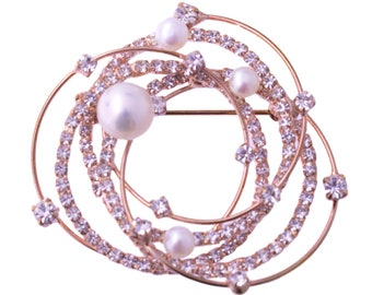 Rose Gold Plated Faux Pearl and Rhinestone Brooch