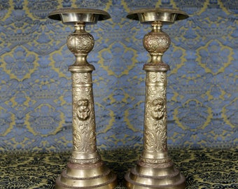 A Pair: Vintage Brass Cherub Candlesticks
