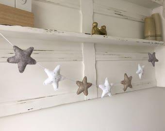 New baby gift, seven star garland, newborn, neutral decor, bunting, home decor, babies room, kids room, wall decor, Christening, babyshower