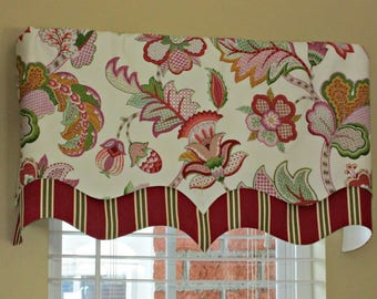 Floral with Red/Maroon Stripe Layered Valance - Lined Valance