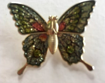 Vintage Colorful Butterfly Brooch Pin