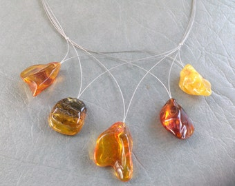 Baltic Amber Nuggets on wire Necklace