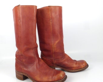 Frye Campus Boots Vintage 1980s Russet Carmel Whiskey Brown Square Toe Cowboy Leather Men's 9