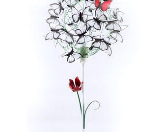 Table lamp hand painted flower and butterflies,butterfly lover,Women Gift,gift mother,special lamp,shadow lamp,red butterfly