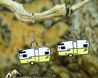 Yellow Shasta Earrings, Shasta Ear Ring, Drop Dangle Earring, Vintage Camper, Glamping Gift, Camping Accessory, Vintage trailer, Vintage