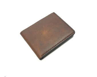 Leather Wallet • Rustic Soft Oil Tanned Brown • Traditional Leather Bifold • mens leather wallet • folding wallet • EDC-100-RST