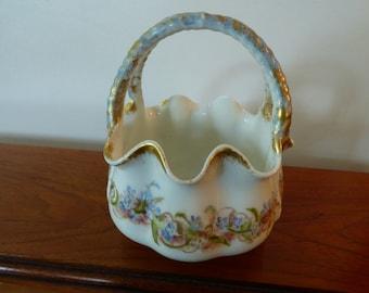 Vintage Porcelain Hand Decorated Basket