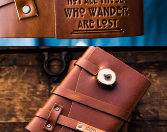 50% OFF --  Personalized Leather Journal -- Not All Who Wander Are lost - Custom Leather Refillable Handmade Portland, Oregon... Sale!
