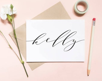 Custom name card, bridesmaid card, maid of honor card, custom maid of honor card, custom bridesmaid card, cursive name card / SKU: LNBM11