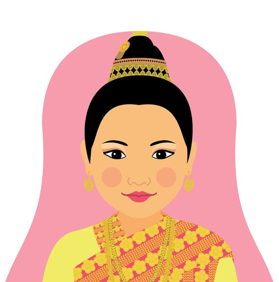 Laotian Doll Art Print with traditional folk dress, matryoshka