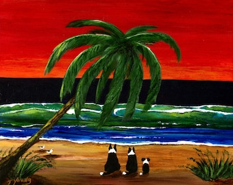 Border Collie Dog Beach ACEO Folk Art PRINT of Todd Young painting
